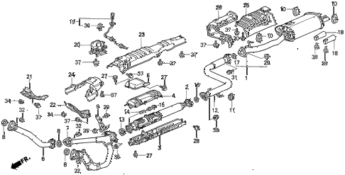 1997 TL BAS3.2 4 DOOR 4AT EXHAUST PIPE (V6) diagram