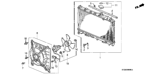 1996 TL PRE2.5 4 DOOR 4AT RADIATOR (SAK) diagram