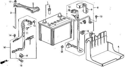 1997 TL BAS3.2 4 DOOR 4AT BATTERY (V6) diagram