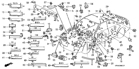 1997 TL BAS2.5 4 DOOR 4AT WIRE HARNESS diagram