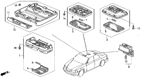 1997 TL BAS3.2 4 DOOR 4AT INTERIOR LIGHT diagram