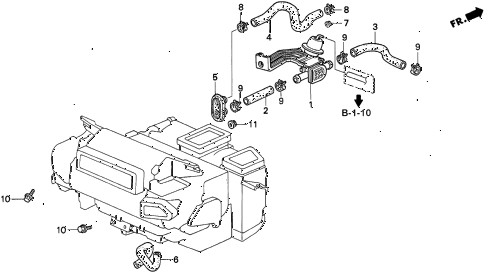 1996 TL BAS2.5 4 DOOR 4AT WATER VALVE diagram