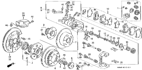 1998 TL PRE2.5 4 DOOR 4AT REAR BRAKE diagram