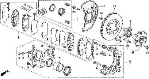 1997 TL PRE2.5 4 DOOR 4AT FRONT BRAKE diagram