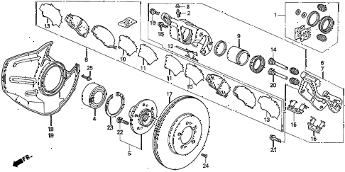 1997 TL BAS3.2 4 DOOR 4AT FRONT BRAKE (V6) diagram