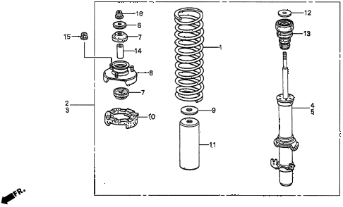 1996 TL PRE2.5 4 DOOR 4AT FRONT SHOCK ABSORBER diagram