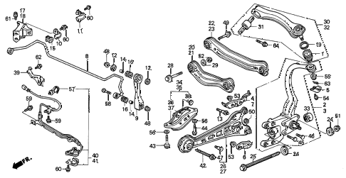 1997 TL PRE2.5 4 DOOR 4AT REAR LOWER ARM diagram