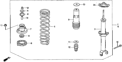 1997 TL BAS2.5 4 DOOR 4AT REAR SHOCK ABSORBER diagram