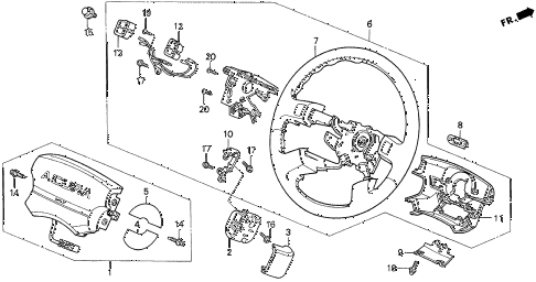 1997 TL BAS2.5 4 DOOR 4AT STEERING WHEEL diagram