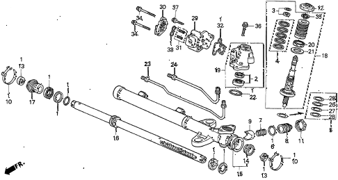 1997 TL BAS3.2 4 DOOR 4AT P.S. GEAR BOX COMPONENTS (V6) (1) diagram