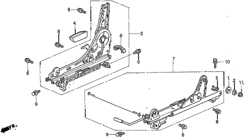1995 TL BAS2.5 4 DOOR 4AT RIGHT FRONT SEAT COMPONENTS (1) diagram