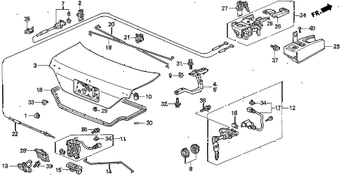 1995 TL BAS2.5 4 DOOR 4AT TRUNK LID diagram