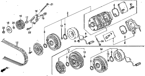 1997 TL BAS3.2 4 DOOR 4AT A/C COMPRESSOR (V6) diagram