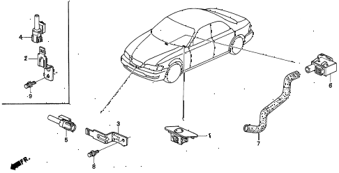 1996 TL BAS2.5 4 DOOR 4AT A/C SENSOR diagram
