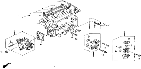 1997 TL PRE2.5 4 DOOR 4AT THROTTLE BODY diagram