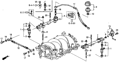 1997 TL BAS3.2 4 DOOR 4AT FUEL INJECTOR (V6) diagram