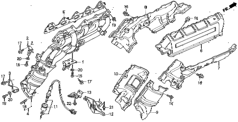 1996 TL PRE2.5 4 DOOR 4AT EXHAUST MANIFOLD diagram