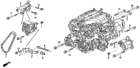1996 TL PRE2.5 4 DOOR 4AT ALTERNATOR BRACKET diagram