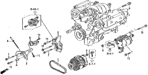 1997 TL BAS3.2 4 DOOR 4AT ALTERNATOR BRACKET (V6) diagram