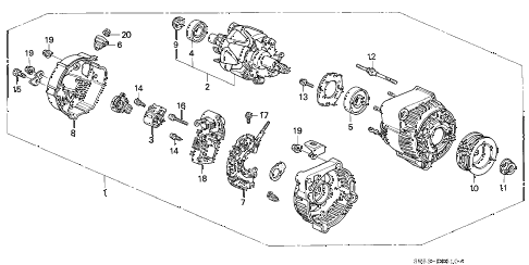 1997 TL PRE2.5 4 DOOR 4AT ALTERNATOR (DENSO) diagram