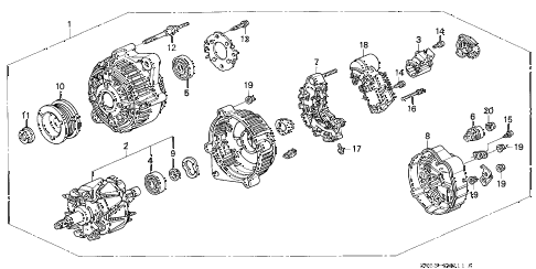 1997 TL BAS3.2 4 DOOR 4AT ALTERNATOR (V6) diagram