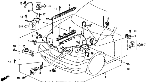 1995 TL PRE2.5 4 DOOR 4AT ENGINE WIRE HARNESS diagram
