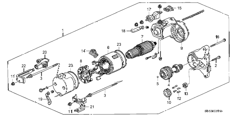 1997 TL BAS3.2 4 DOOR 4AT STARTER MOTOR (V6) diagram