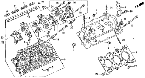 1997 TL BAS3.2 4 DOOR 4AT CYLINDER HEAD (R.) (V6) diagram