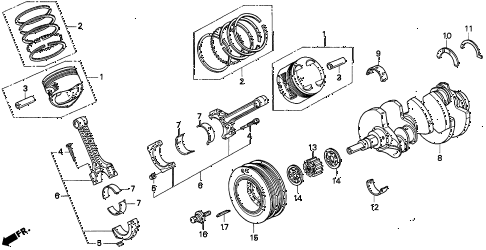 1997 TL BAS3.2 4 DOOR 4AT PISTON - CRANKSHAFT (V6) diagram