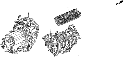 1996 TL BAS2.5 4 DOOR 4AT ENGINE ASSY. - TRANSMISSION ASSY. diagram