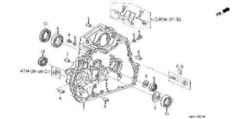 1998 CL BAS2.3 2 DOOR 4AT AT TORQUE CONVERTER HOUSING (2) diagram