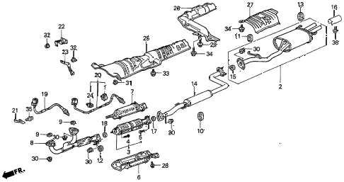 1997 CL PRE3.0 2 DOOR 4AT EXHAUST PIPE (2) diagram