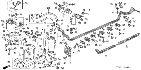 1998 CL BAS3.0 2 DOOR 4AT FUEL PIPE (2) diagram