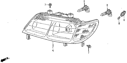 1998 CL BAS2.3 2 DOOR 4AT HEADLIGHT diagram