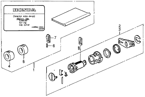 1997 CL PRE3.0 2 DOOR 4AT KEY CYLINDER KIT diagram