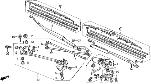 1998 CL BAS2.3 2 DOOR 5MT FRONT WINDSHIELD WIPER diagram
