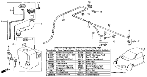1998 CL BAS3.0 2 DOOR 4AT WINDSHIELD WASHER (2) diagram