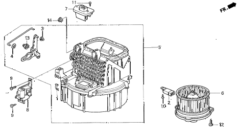 1999 CL PRE2.3 2 DOOR 5MT HEATER BLOWER diagram