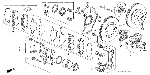 1997 CL PRE2.2 2 DOOR 4AT FRONT BRAKE (1) diagram