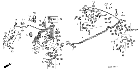 1997 CL BAS2.2 2 DOOR 5MT BRAKE LINES (1) diagram
