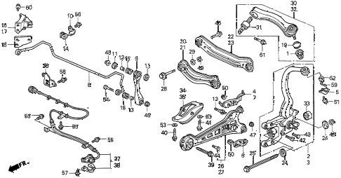 1997 CL BAS3.0 2 DOOR 4AT REAR LOWER ARM diagram