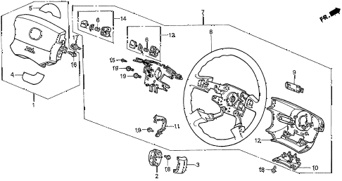 1997 CL BAS3.0 2 DOOR 4AT STEERING WHEEL (1) diagram