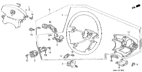 1998 CL BAS3.0 2 DOOR 4AT STEERING WHEEL (2) diagram