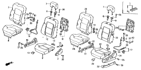 1998 CL BAS2.3 2 DOOR 5MT FRONT SEAT (1) diagram