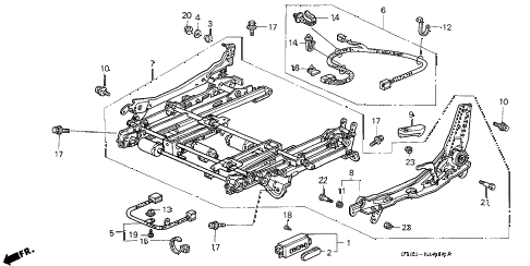 1997 CL BAS2.2 2 DOOR 5MT LEFT FRONT SEAT COMPONENTS (1) diagram