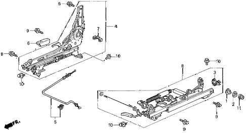 1997 CL BAS2.2 2 DOOR 5MT RIGHT FRONT SEAT COMPONENTS diagram