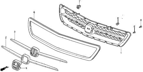 1997 CL PRE2.2 2 DOOR 5MT FRONT GRILLE (1) diagram