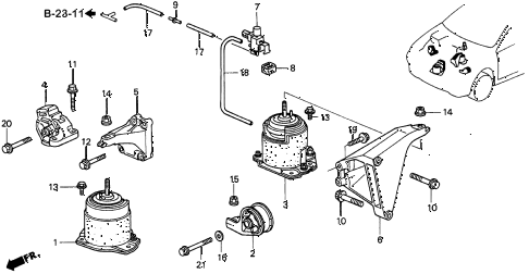 1997 CL PRE3.0 2 DOOR 4AT ENGINE MOUNT (3) diagram