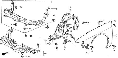 1998 CL PRE2.3 2 DOOR 4AT FRONT FENDER diagram