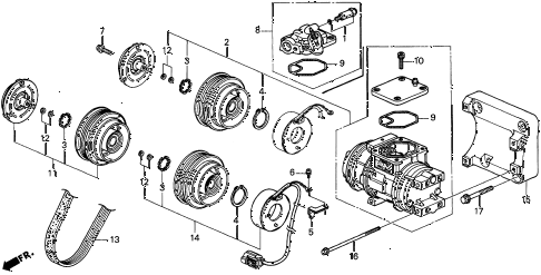 1997 CL BAS3.0 2 DOOR 4AT A/C COMPRESSOR (DENSO) (2) diagram